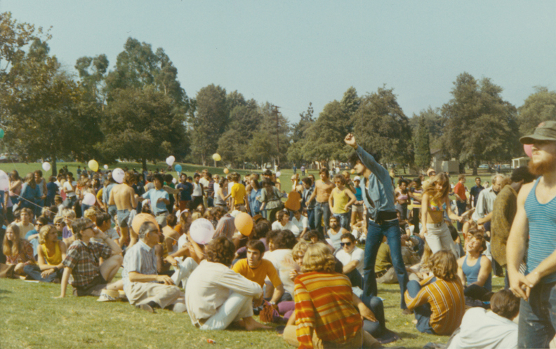 Crowd Gathers At The Gay In At Griffith Park Los Angeles. 1970