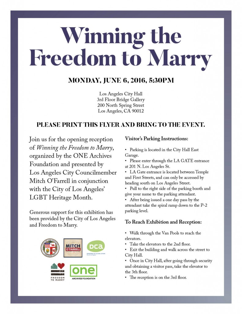 Winning the Freedom to Marry Reception Flyer