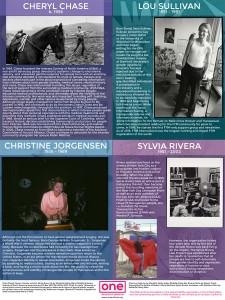 Cheryl Chase, Sylvia Rivera, Lou Sullivan, and Christine Jorgensen