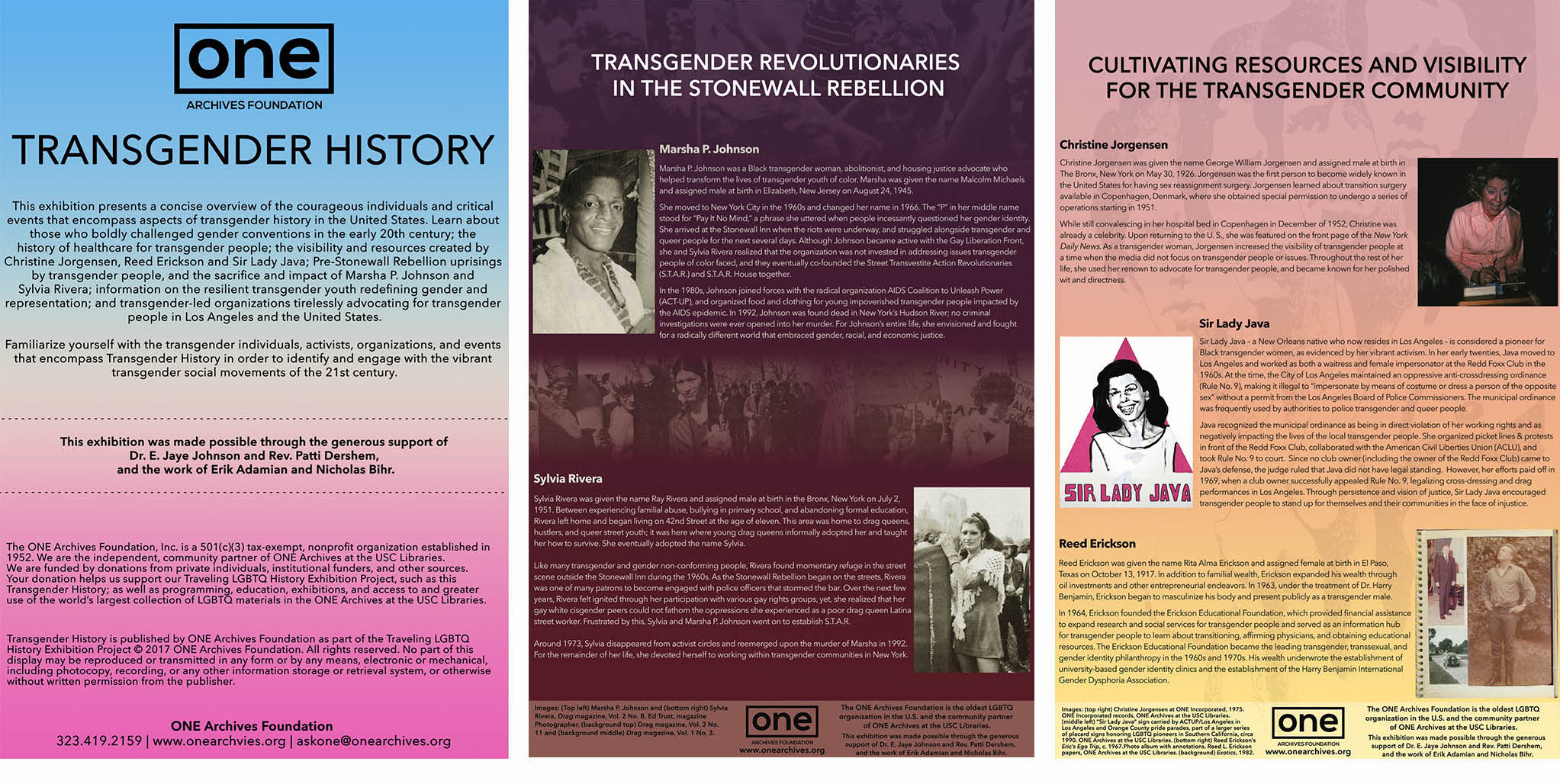 Now Available: Transgender History Panels Exhibition
