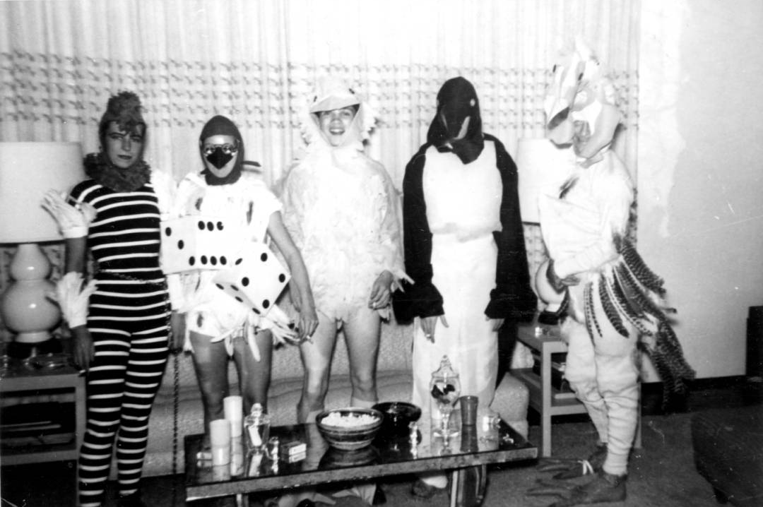 Five dressed as birds at a house party, Henry Grace and Michael L. Grace collection, ONE Archives at the USC Libraries