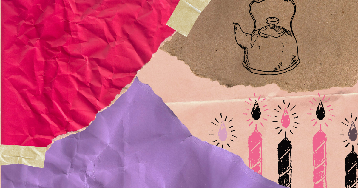 a paper collage of birthday, illustration of a tea kettle, and some candles