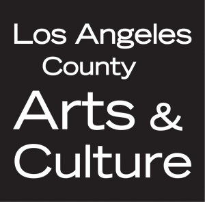 Black logo with white text that says Los Angeles County Arts & Culture