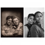 black and white images on white background; left image features two white men; right image features two gender expansive individuals of African descent