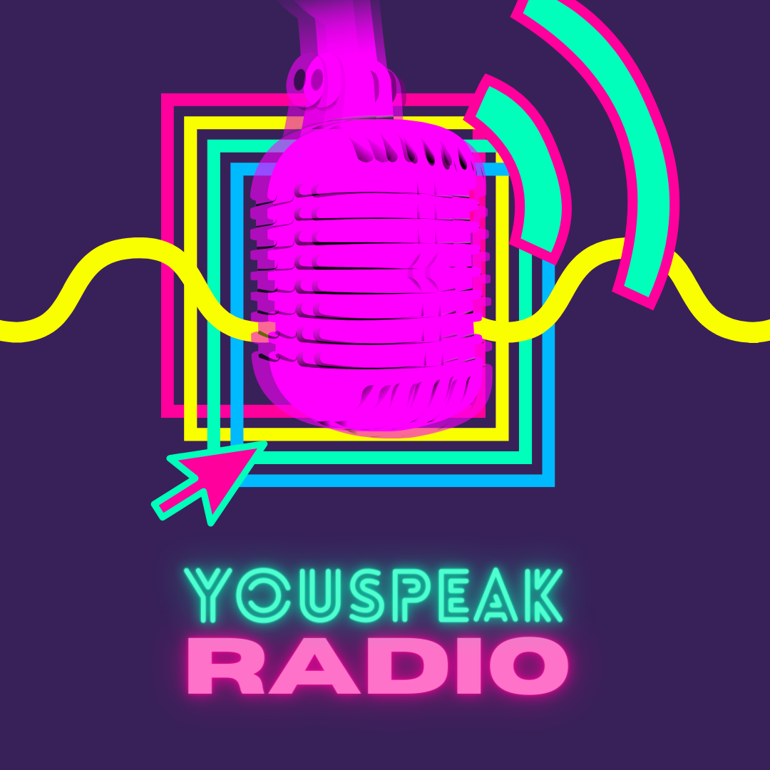"""retro microphone in bright fuchsia over bright color boxes with wave like pattern next to text saying """"Youspeaak Radio"""" in neon teal and pink"""